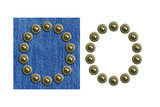 Jeans Rivet Alphabet Letter O. On Jeans Background And Isolated Prints by  donatas1205