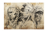 Tattoo Sketch Of American Indian Warriors, Hand Made Posters by  outsiderzone