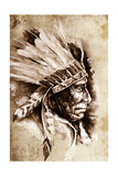 Indian Head Chief Illustration. Sketch Of Tattoo Art, Over Vintage Paper Print by  outsiderzone