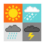 8-Bit Pixel Weather Symbols: Sun, Rain, Snow, Thunder Posters by  wongstock