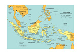 Indonesia With Administrative Districts And Surrounding Countries Posters by Bruce Jones