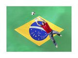 Goalkeeper Saving Ball In Front Of Brazilian Flag Pôsters por  Nosnibor137