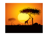 Tranquil Sunset Scene In Africa. Silhouette Animals And Trees In Africa Sunset Background Art by  ori-artiste