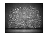Business Sketch Ideas Against Dark Wall Background Plakater af Sergey Nivens