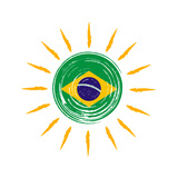 Brazilian Flag In Sun Print by  marinini