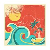 Vintage Tropical Poster With Island And Palms Reproduction giclée Premium par  GeraKTV