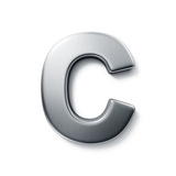 3D Rendering Of The Letter C In Brushed Metal On A White Isolated Background Art by  zentilia