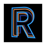 Glowing Letter R Isolated On Black Background Prints by Andriy Zholudyev