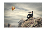 Rich Businessman Sitting On A Chair In The Mountain Looking The Landscape With Spyglass Posters by  olly2