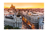 Panoramic View Of Gran Via, Madrid, Spain Print by  kasto