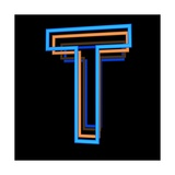 Glowing Letter T Isolated On Black Background Prints by Andriy Zholudyev