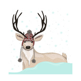 Cute Deer With Hat Winter Background Premium Giclee Print by cherry blossom girl