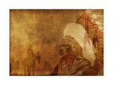 Native Americans Background Affiches par  duallogic