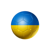 Soccer Football Ball With Ukraine Flag Premium Giclee-trykk av  daboost