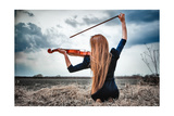 The Red-Haired Girl With A Violin Outdoor Poster by  anpet2000