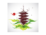 Japan Origami Temple Shaped From Flying Birds Prints by  feoris