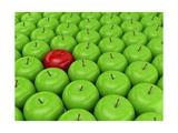 One Red Apple On A Background Of Green Apples Láminas por  Maestriadiz