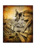 Retro Card ,Paris, View From Notredame Cathedral Prints by  Maugli-l