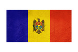 Grunge Sovereign State Flag Of Country Of Moldova In Official Colors Print by  Speedfighter