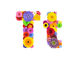 Flower Alphabet Isolated On White - Letter T Posters by  tr3gi