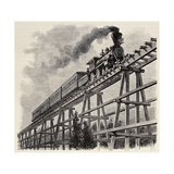 Old Illustration Of Train Crossing Wooden Trestle Bridge Along Union Pacific Railroad Posters by  marzolino