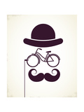 Gentlemen With Bicycle Eyeglass - Vintage Style Poster 高品質プリント :  Marish