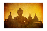 Vintage Image Of Buddha Statue At Borobudur Temple, Java, Indonesia Prints by  javarman