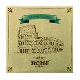 Roman Colosseum For Retro Travel Poster Premium Giclee Print by  stockshoppe