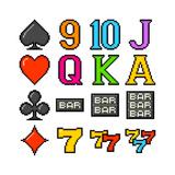 8-Bit Pixel Art Slot Machine Symbols Art by  wongstock