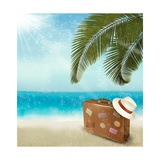 Vintage Beautiful Seaside With Suitcase And A Hat Prints by  almoond