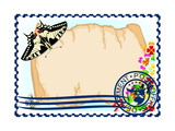 Postage Stamp. Paper, Flowers And Butterflies Posters by  GUARDING-OWO