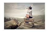 Beautiful Woman Sitting On A Pile Of Old Books Watching With Binoculars Print by  olly2