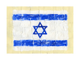 Hand Painted Acrylic Flag Of Israel Prints by  donatas1205