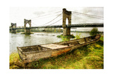 Old Boat And Bridge - Picture In Painting Style Prints by  Maugli-l