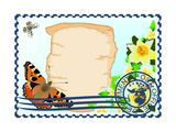 Postage Stamp. Paper, Butterflies And Flowers Art by  GUARDING-OWO