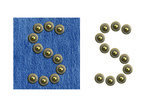 Jeans Rivet Alphabet Letter S. On Jeans Background And Isolated Prints by  donatas1205