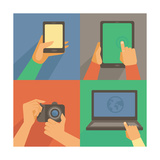 Set Of Flat Icons - Mobile Phone, Laptop Prints by  venimo
