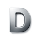 3D Rendering Of The Letter D In Brushed Metal On A White Isolated Background Posters by  zentilia