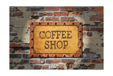 Rusted Coffee Sign On 1890'S Brick Wall Poster by Old Hotroder