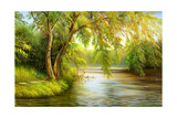 Summer Wood Lake With Trees And Bushes Art by  balaikin2009