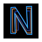 Glowing Letter N Isolated On Black Background Prints by Andriy Zholudyev