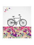 Retro Hipsters Bicycle Geometric Elements Posters by  cienpies