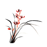 Chinese Traditional Ink Painting Of Orchid On White Background Posters by  elwynn