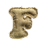 Linen Vintage Cloth Letter F Isolated On White Art by  smaglov