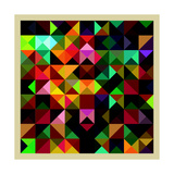 Colorful Triangles Modern Abstract Mosaic Design Pattern Prints by  Melindula