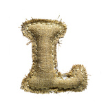 Linen Vintage Cloth Letter L Isolated On White Prints by  smaglov
