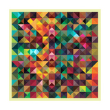 Colorful Triangles Modern Abstract Mosaic Design Pattern Posters by  Melindula