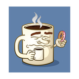 Grumpy Coffee Cartoon Character Eating A Donut Art by Tony Oshlick