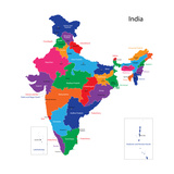 Map Of The Republic Of India With The States Colored In Bright Colors Art by  Volina