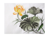 Watercolor Painting Of Yellow Lotus Flower Print by  Surovtseva